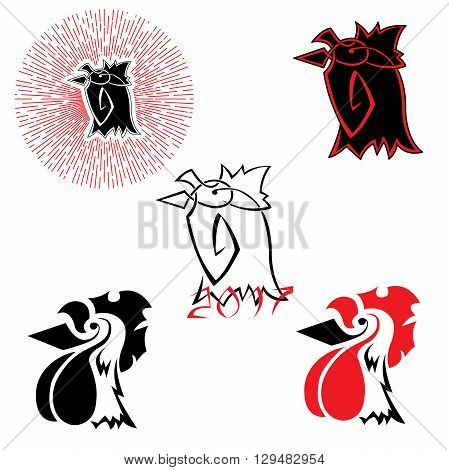 vector logos with the image of a rooster