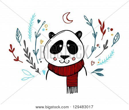 Hand drawn vector illustration - cute panda with floral elements. Sketch