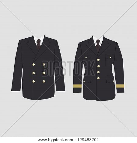 Vector illustration of military uniform warpaint. Captain jacket with tie. Winter coat