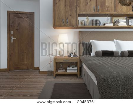 Bedroom in modern style with a bedside table. Bedroom in brown and white colors. on the door type. 3D render.