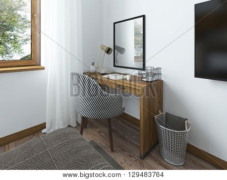 Working space with a desk. Above the table hangs a mirror on the desk working papers and decor. Dressing table in the bedroom in the loft. 3D render.