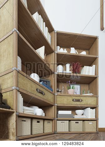 Big rack in a rustic style with books and decor. Shelving in bedroom loft design with a TV on the wall. 3D render.
