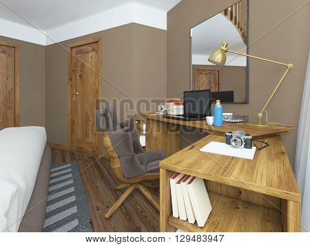 Desk in a modern bedroom solid wood with an angular attachment. Above the table mirror on the table laptop books and decor. Comfortable large chair with a soft padded base. Brown yellow texture white. 3D render.