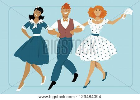 Three young people dressed in vintage fashion marching arm in arm, EPS 8 vector illustration, no transparencies