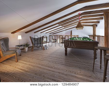 Billiard room with two comfortable chairs and a fireplace in the loft style. Billiard room on the second level living area with a handrail in a rustic style. 3D render.
