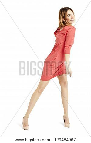Shapely Woman Dancing And Looking At You