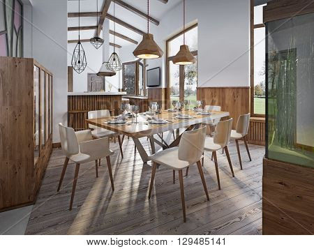 Served table for eight in the dining room in the loft with high ceilings. Dining room with a large aquarium on a high pedestal. 3D render.