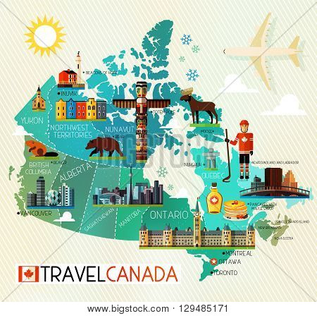 Map of Canada and Travel Icons. Canada Travel Map. Vector Illustration