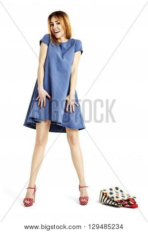 Happiness Woman In Blue Dress