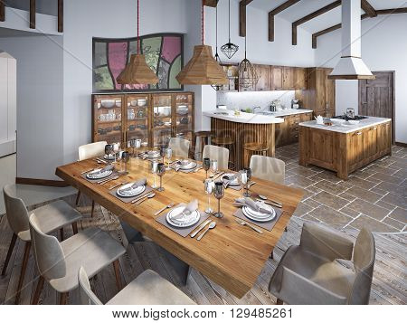 Dining room with large dining table and high ceilings in the loft. Dining smoothly into the kitchen. 3D render.