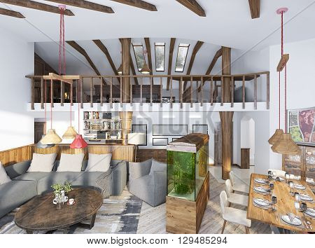 Large studio in a loft style with wooden furniture and elements. The two-level lounge in a modern style. 3D render.