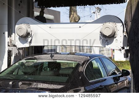 View of car during washing process outdoor