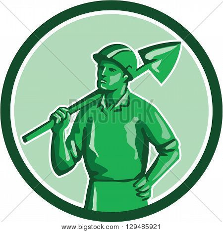 Illustration of a green plastic toy miner standing wearing hard hat holding shovel on shoulder and other hand on hips set inside circle on isolated background done in retro style.
