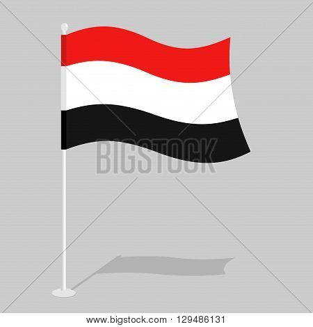 Yemen Flag. Official National Mark Of Republic Of Yemen. Traditional Yemeni Flag Paced. State In Sou
