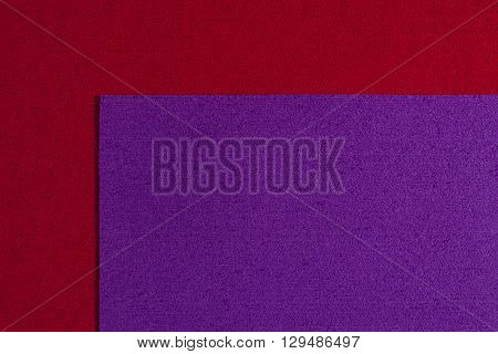 Eva foam ethylene vinyl acetate purple surface on red sponge plush background