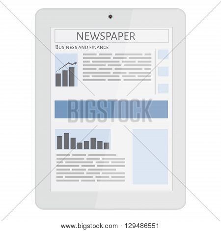 Business newspaper on tablet. Mobile news concept. Tablet and newspaper. Reading online news on tablet concept. Flat design.