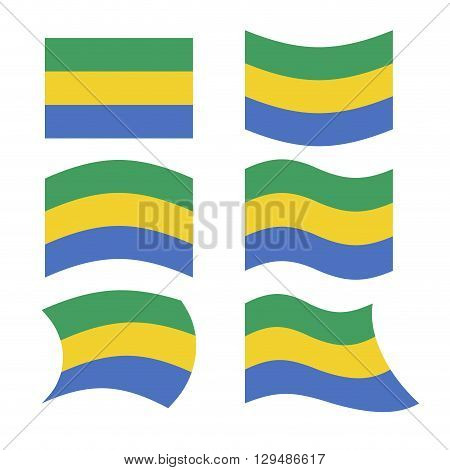 Gabon Flag. Set Of Flags Of Gabonese Republic In Various Forms. Developing Gabonese Flag Country In