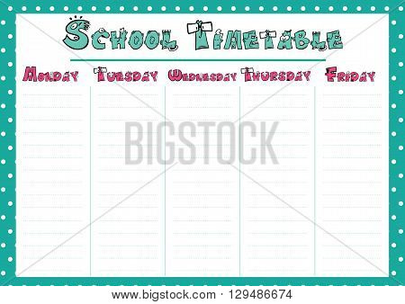 Cute Calendar Weekly Planner Template. School Timetable Illustration. Organizer and Schedule.