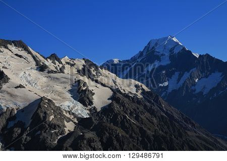 Peak of Mt Cook and glacier. Summer scene in New zealand.