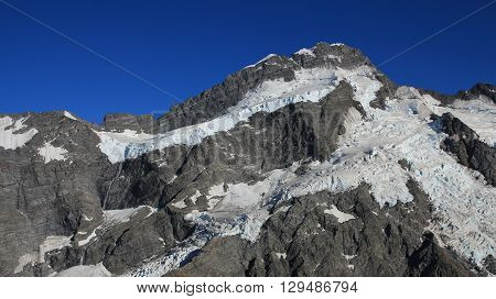 High mountain Mount Brunner Southern Alps. Summer scene near Mt Cook New Zealand.