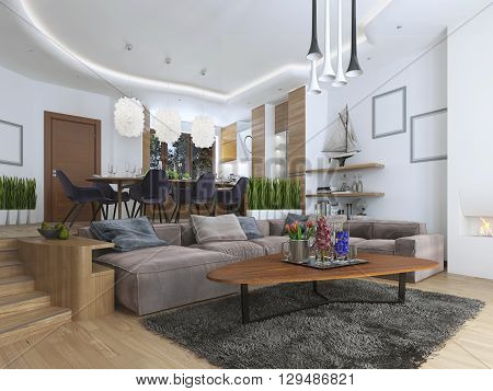 Studio apartment with living room and dining room in a contemporary style. Large sofa with designer coffee low table and decoration on the shelves. Dining in an elevated podium. 3D render.
