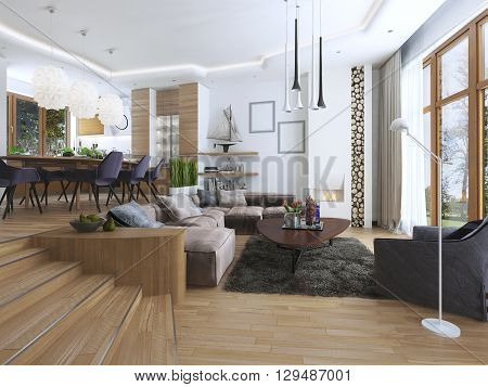 The room is a studio with kitchen and dining area and a living room on the lower level in the Contemporary style. Sideboard with utensils and decorations on the shelves. 3D render.