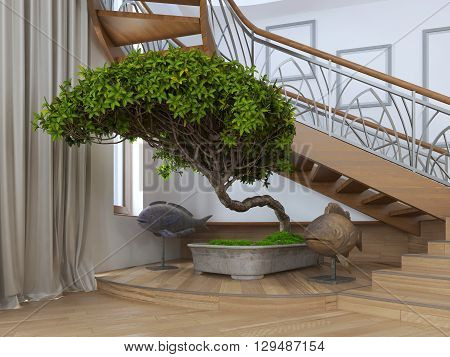Bonsai tree in the interior of a private house with decorative statues around. 3D render.