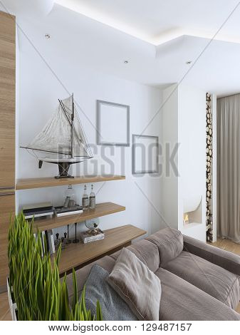 interesting idea with shelves and paintings on the wall in a modern living room. Shelves with decorative objects. Mockup poster on a white wall. 3D render.