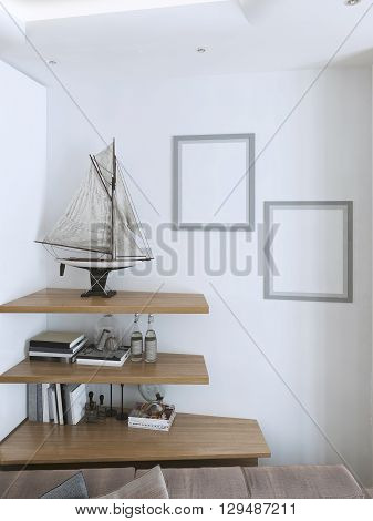 Suspended wooden shelves with decorative items for the interior. A large model of a sailboat in the modern stilde. Mockup poster on the wall. 3D render.