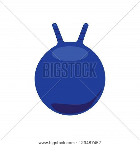 Vector illustration blue ball for fitness. Ball with handle