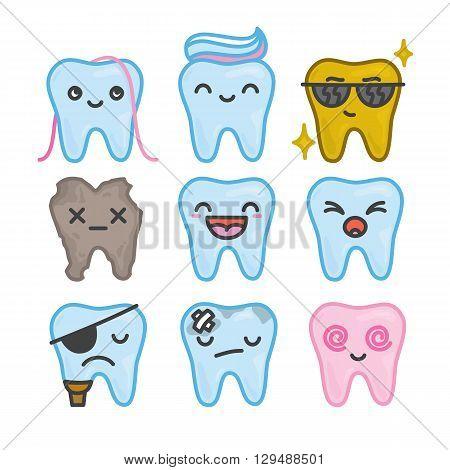 Nine funny cartoon kawaii teeth vector isolated pack