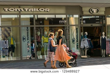 ROSTOCK, GERMANY - MAY 12, 2016: Tom Tailor is a German lifestyle clothing company