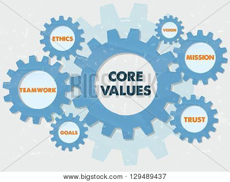 core values teamwork ethics goals vision mission trust - words in grunge flat design gear wheels infographic business cultural riches concept