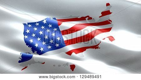 American Usa Flag On United States Of America Map, Stars And Stripes