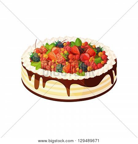 Cake with berries and fruits on a white background. Vector illustration of baking. Isolated vector illustration on white background