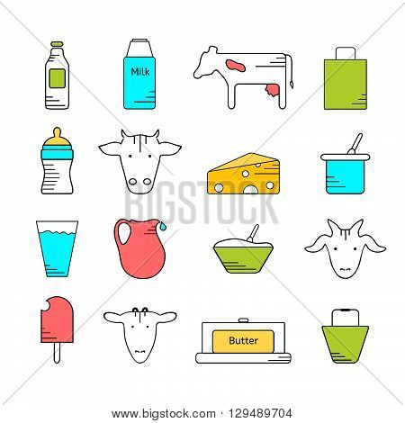 Dairy icons colored set. Line icons in color on white background. Logo and labels for farming and production. Icons for web mobile and print.