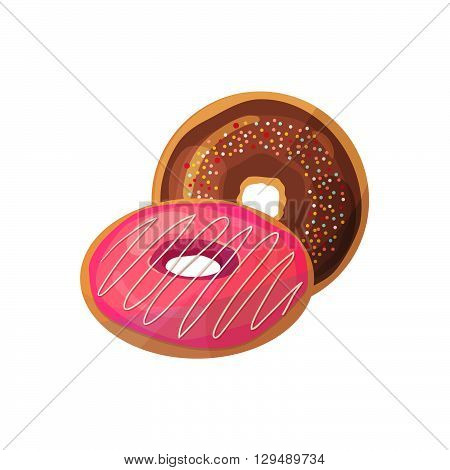 Doughnuts on a white background. Vector illustration of baking. Isolated vector illustration on white background
