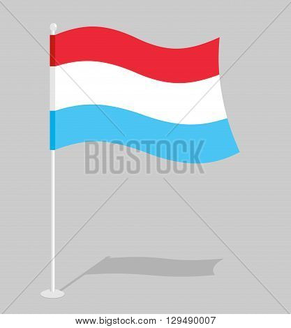 Luxembourg Flag. Official National Sign Of Grand Duchy Of Luxembourg. Traditional Growing Luxembourg