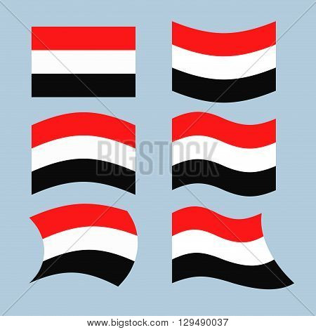 Yemen Flag. Set Of Flags Of Republic Of Yemen In Various Forms. Developing Yemeni State Flag In Sout