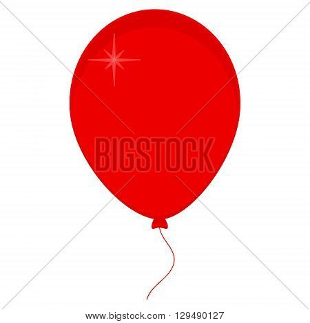 Vector illustration of red balloon with ribbon isolated on white background. Balloon icon. Festive balloons. Party