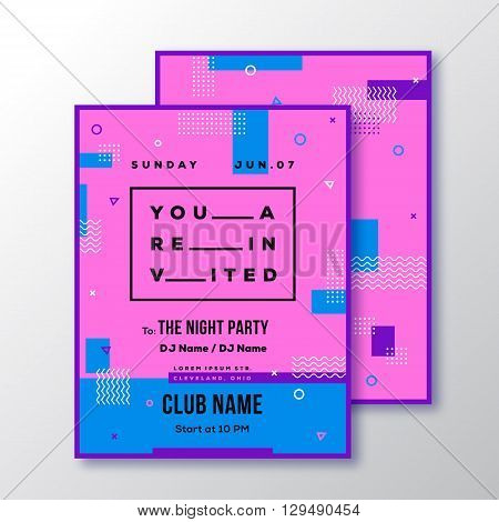 Night Party Club Invitation Card or Poster Template. Modern Abstract Flat Style Background with Decorative Stripes, Zig-Zags and Typography. Pink, Blue Colors. Isolated. Soft Realistic Shadows.