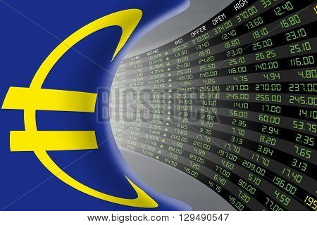 Flag of European Union with a large display of daily stock market price and quotations during economic booming period. The fate and mystery of EU stock market tunnel/corridor concept.