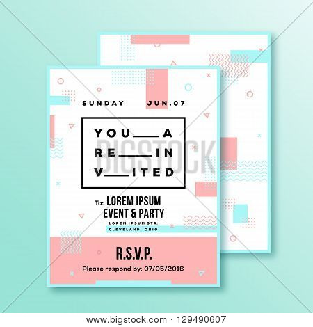 Event, Party Invitation Card or Poster Template. Modern Abstract Flat Style Background with Decorative Stripes, Zig-Zags and Typography. Red, Blue Colors. Isolated. Soft Realistic Shadows.