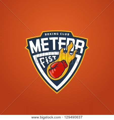 Boxing Club Abstract Vector Sport Emblem or Logo Template. Glove as a Meteor Sign. Shield Fighting Label. Punching Fist Symbol.  Orange Background.