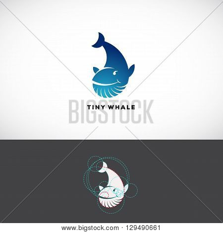 Tiny Whale Abstract Vector Logo Template. Flat Style Sign, Icon or Symbol Made With Golden Ratio Guides. Isolated.
