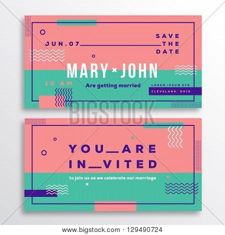 Wedding Invitation Card Template. Modern Abstract Flat Style Background with Decorative Stripes, Zig-Zags and Typography. Pink, Mint Colors. Isolated. Soft Realistic Shadows.