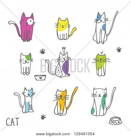 Set of cat illustrations