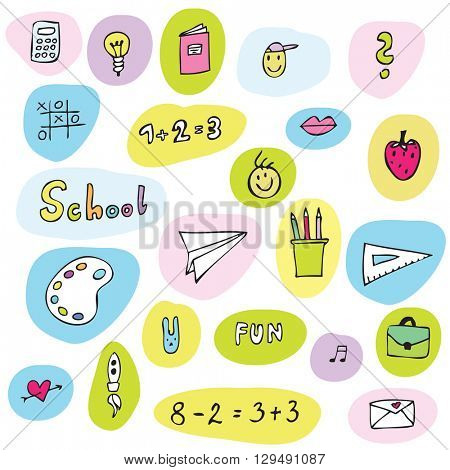 Back to school - design elements -stickers Free hand drawings