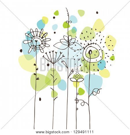 Free hand drawing of flowers - design element