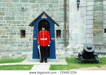 Quebec city,Quebec,Canada-August 25th 2013: picture of a guard taken during daily changing of the guard at the Citadelle.